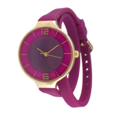 jcpenney.com | TKO ORLOGI Womens Purple Silicone Strap Wrap Watch