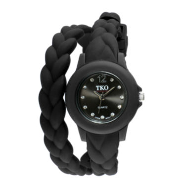 jcpenney.com | TKO ORLOGI Womens Crystal-Accent Braided Black Silicone Strap Wrap Watch