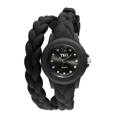 TKO ORLOGI Womens Crystal-Accent Braided Black Silicone Strap Wrap Watch