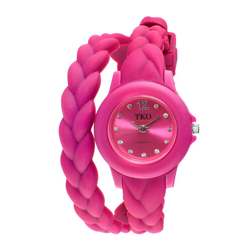 TKO ORLOGI Womens Crystal-Accent Braided Pink Silicone Strap Wrap Watch