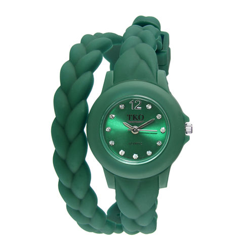 TKO ORLOGI Womens Crystal-Accent Braided Green Silicone Strap Wrap Watch