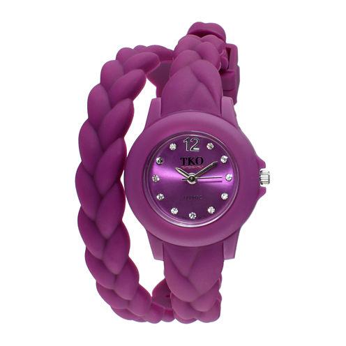 TKO ORLOGI Womens Crystal-Accent Braided Purple Silicone Strap Wrap Watch