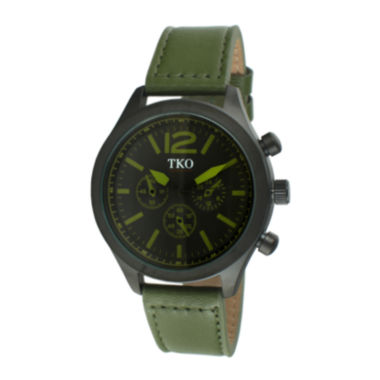 jcpenney.com | TKO ORLOGI Mens Green Leather Strap Multifunction-Look Watch