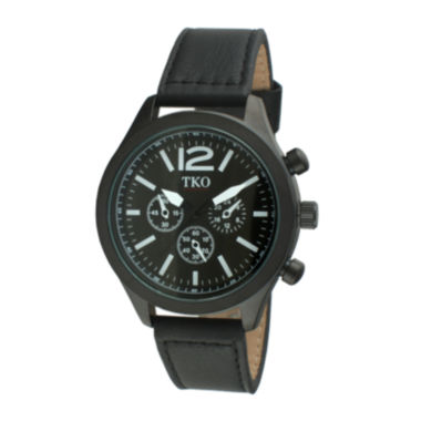 jcpenney.com | TKO ORLOGI Womens Crystal-Accent Black Dial Multifunction-Look Bracelet Watch