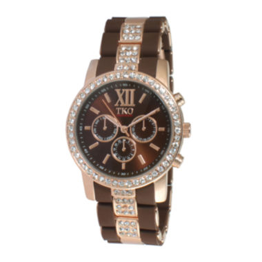 jcpenney.com | TKO ORLOGI Womens Crystal-Accent Brown Dial Multifunction-Look Bracelet Watch
