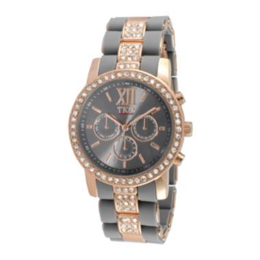 jcpenney.com | TKO ORLOGI Womens Crystal-Accent Gray Dial Multifunction-Look Bracelet Watch