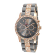TKO ORLOGI Womens Crystal-Accent Gray Dial Multifunction-Look Bracelet Watch