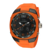 TKO ORLOGI Mens Orange Silicone Strap Analog/Digital Chronograph Sport Watch