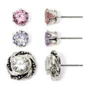 Sensitive Ears Cubic Zirconia 3-pr. Stud Earring Set
