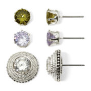 Sensitive Ears Cubic Zirconia 3-pr. Interchangeable Stud Earring Set