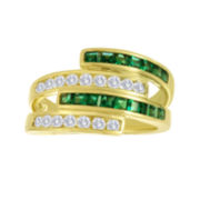 Lab-Created Emerald and White Sapphire Ring