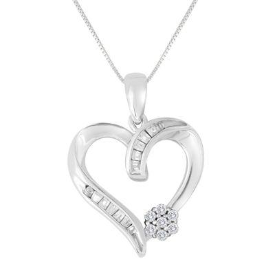Diamond blossom 15 ct tw diamond 10k white gold heart pendant diamond blossom 15 ct tw diamond 10k white gold heart pendant necklace aloadofball Image collections