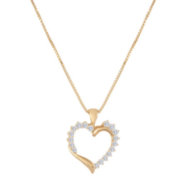 jcpenney.com | 1/2 CT. T.W. Diamond 10K Rose Gold Heart Pendant Necklace