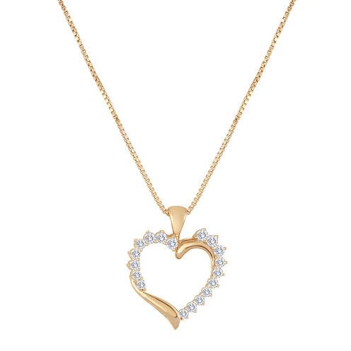 1/2 CT. T.W. Diamond 10K Rose Gold Heart Pendant Necklace