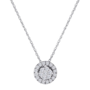jcpenney.com | diamond blossom 1/5 CT. T.W. Diamond 10K White Gold Halo Pendant Necklace