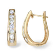 1½ CT. T.W. Diamond 14K Yellow Gold Hoop Earrings