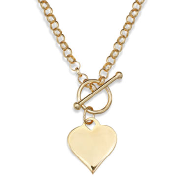 jcpenney.com | 14K Gold Over Sterling Silver Heart Toggle Link Necklace