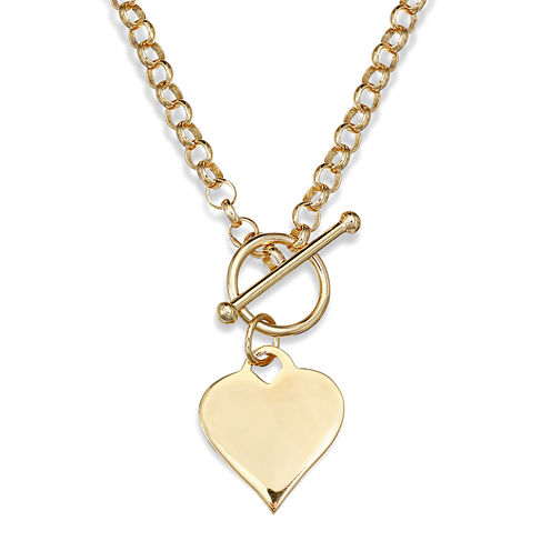14K Gold Over Sterling Silver Heart Toggle Link Necklace