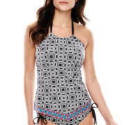 a.n.a® Geo Print High-Neck Tankini Swim Top