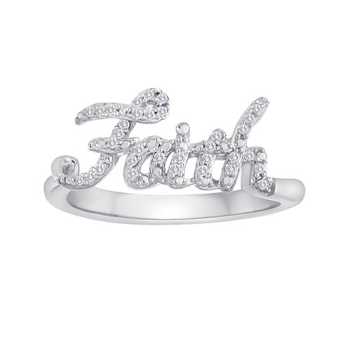 1/10 CT. T.W. Diamond Faith Sterling Silver Ring