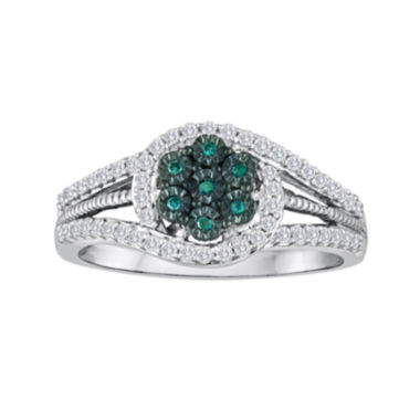 jcpenney.com | diamond blossom 1/3 CT. T.W. White and Color-Enhanced Blue Diamond Sterling Silver Ring