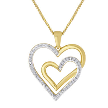 jcpenney.com | ForeverMine® 1/10 CT. T.W. Diamond Two-Tone Double Heart Pendant Necklace
