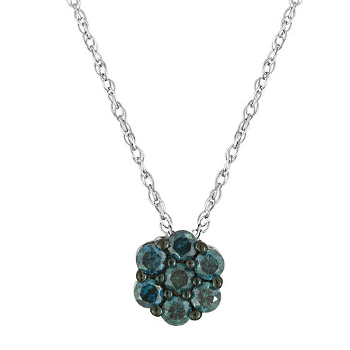 diamond blossom 1/5 CT. T.W. Color-Enhanced Blue Diamond Pendant Necklace