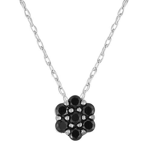 diamond blossom 1/5 CT. T.W. Color-Enhanced Black Diamond Pendant Necklace