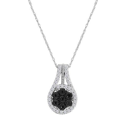 diamond blossom 1/3 CT. T.W. Color-Enhanced Black Diamond Pendant Necklace