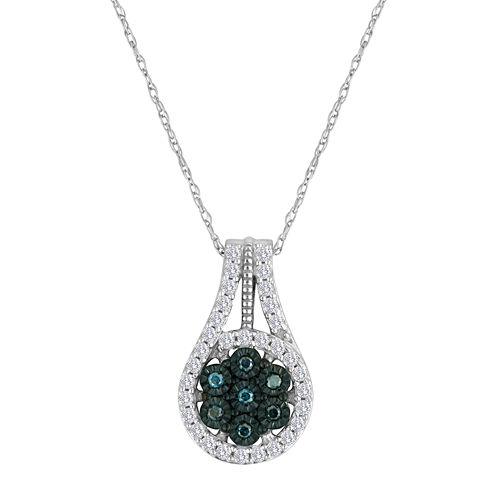 diamond blossom 1/3 CT. T.W. Color-Enhanced Blue Diamond Pendant Necklace
