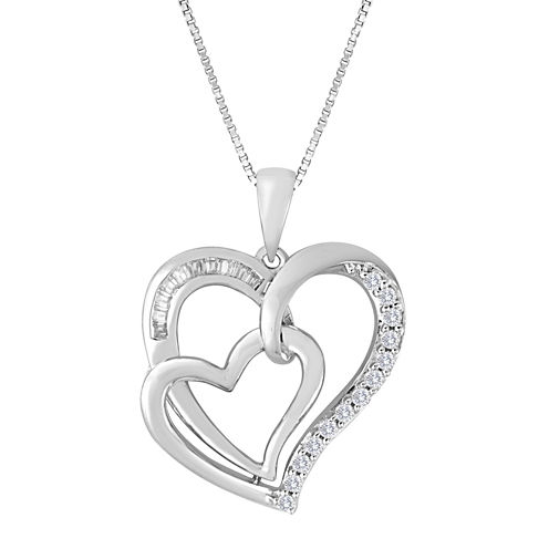 ForeverMine® 1/4 CT. T.W. Diamond Sterling Silver Double-Heart Pendant Necklace