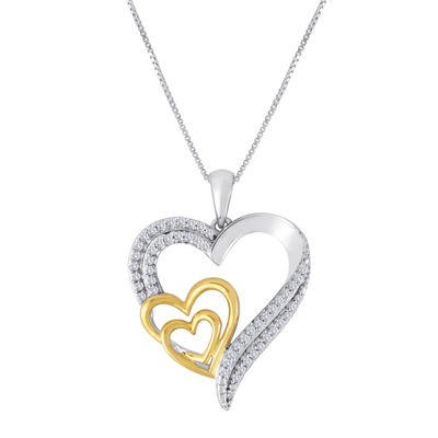 Fine Jewelry 1/10 CT. T.W. Diamond Sterling Silver Triple-Heart Pendant Necklace 3mie6