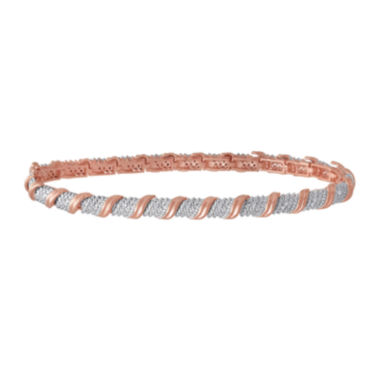 jcpenney.com | 1/10 CT. T.W. Diamond 14K Rose Gold Over Silver Bracelet