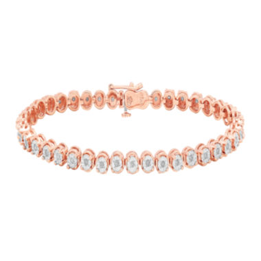 jcpenney.com | 1/2 CT. T.W. Diamond 14K Rose Gold Over Sterling Silver Round Link Bracelet