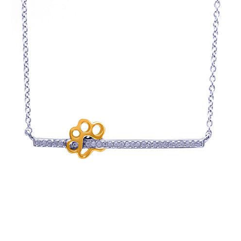 1/10 CT. T.W. Diamond Two-Tone Paw Print Pendant Necklace