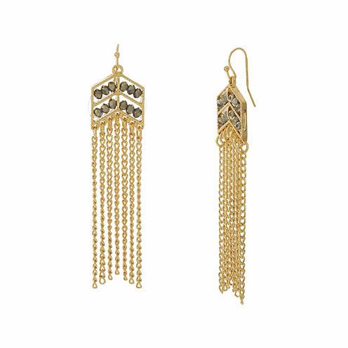 Natasha Chevron Beaded Gold-Tone Earrings