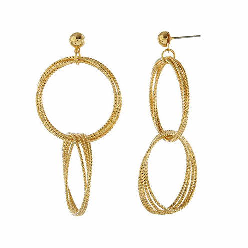 Natasha Gold-Tone Double Hoop Drop Earrings