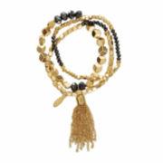 Natasha Gold-Tone Tassel Stretch Bracelet