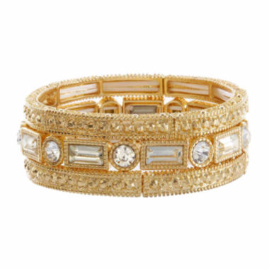 jcpenney.com | Natasha 3-pc. Crystal Gold-Tone Stretch Bracelet Set