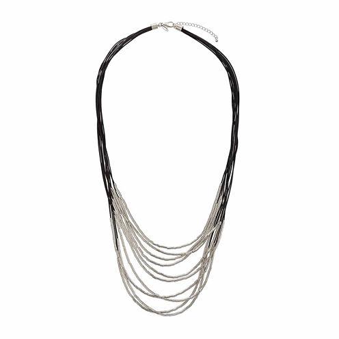 Natasha Fabric & Silver-Tone Metal Necklace
