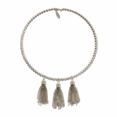 jcpenney.com | Natasha Crystal Silver-Tone Tassel Choker Necklace