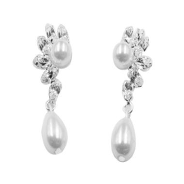 jcpenney.com | Vieste® Silver-Tone Simulated Rose Pearl & Crystal Flower Drop Earrings