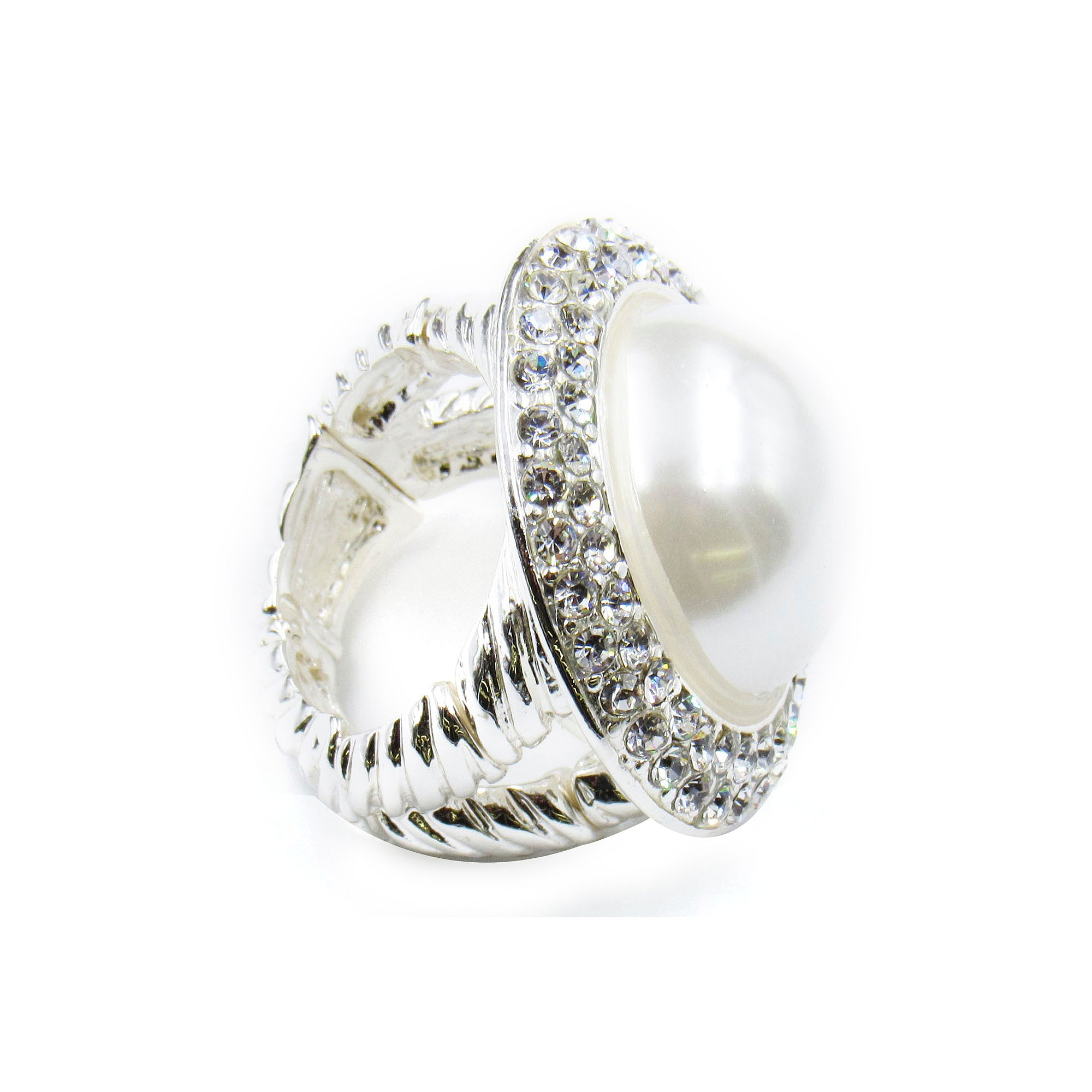Vieste Silver-Tone Simulated Rose Pearl & Crystal Round Stretch Ring