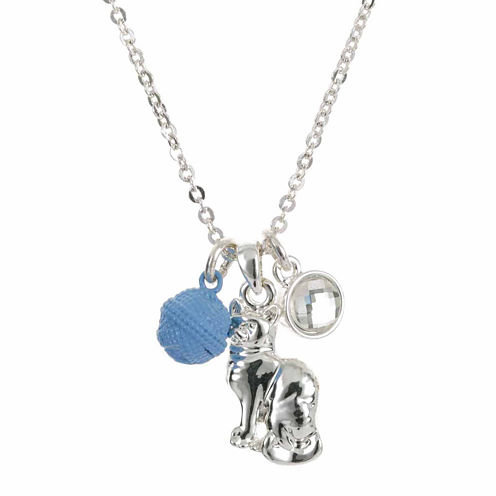 Pet Friends Crystal Silver-Tone Cat Pendant Necklace