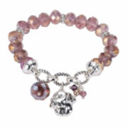 Pet Friends Purple Bead Silver-Tone Stretch Bracelet