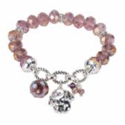 Pet Friends Purple Bead Silver-Tone Stretch Bracelet
