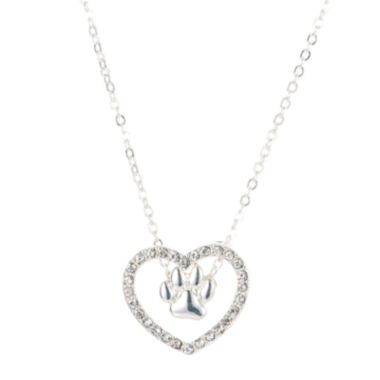 jcpenney.com | Pet Friends Crystal Silver-Tone Heart Pendant Necklace