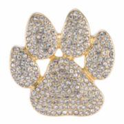 Pet Friends Crystal Gold-Tone Pavé Paw Pin