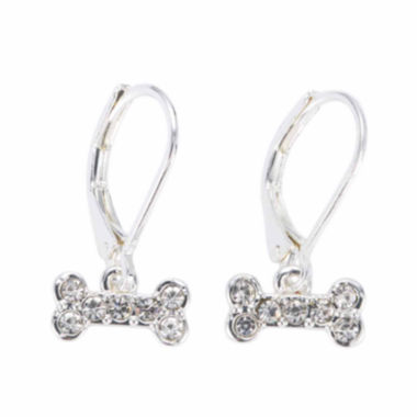 jcpenney.com | Pet Friends Crystal Silver-Tone Bone Drop Earrings