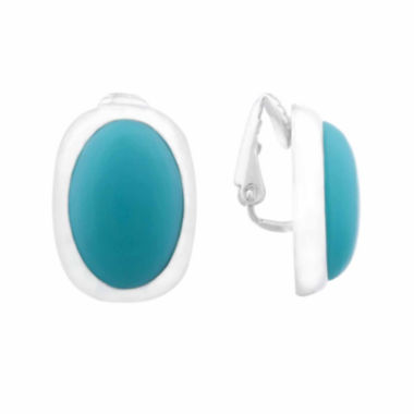 jcpenney.com | Liz Claiborne® Blue Acrylic Clip-On Earrings